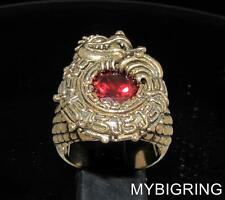HUGE BRONZE MEN'S SIGNET RING MAYAN INCA DRAGON RED CUBIC ZIRCONIA ANY SIZE