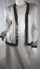 St. John Women's Evening Beaded and Textured Knit Skirt Suit in Silver Size 6