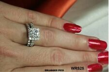 BEAUTIFUL STERLING SILVER PRINCESS 2.7C PAVE CZ ENGAGEMENT WEDDING HALO RING SET
