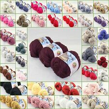 LOT of 3 Balls X 50gr Special Thick Worsted 100% Cotton solid Knitting Yarn C