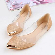 New Women Fashion Flats Ballerina Slippers Casual Slip On Shoes Faux Leather I