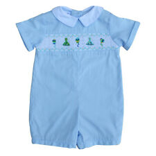 Baby Boy's Hand Smocked Shortall - Blue Birthday Party