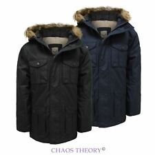 Boys Kids Back To School Parka Fur Hooded Padded Winter Jacket Coat Age 7-13