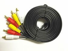 TRIPLE 3X RCA PHONO Male Plug Audio Video AV Cable TV Gold Lead