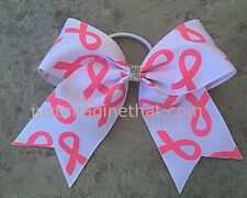 """Breast Cancer Awareness 6""""x6"""" 2.25"""" Cheer Bow White w/Pink Glitter Bows"""