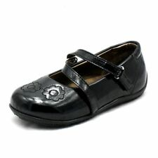 Black Patent velcro strap embroidered shoes Girls
