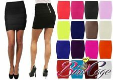 NEW WOMENS LADIES RIBBED BANDAGE BODYCON STRETCH PANEL ZIP MINI SKIRT 8 10 12 14