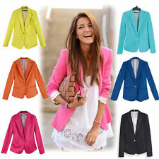 New Women's Long Sleeve One Button Candy Color Blazer Casual Jacket Suit Coat