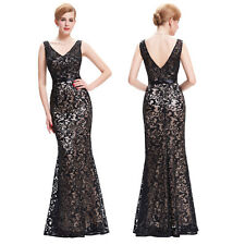 Sequined Black Long HOMECOMING Formal Evening Gowns Party Bridesmaid Prom Dress