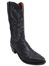 "Men's 13"" Lucchese 1883 Pin Ostrich Boots N1063 High Sierra Stitch Black"