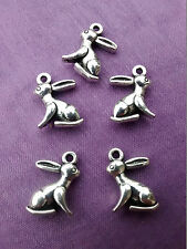 5 or 10 Cute 3D Tibetan Silver Hare Rabbit Charms Pendant Pagan Wiccan 16m