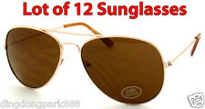 WHOLESALE LOT OF 12 GOLD CLASSIC AVIATOR COP METAL WIRE FRAME SUNGLASSES SHADES