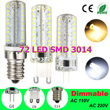 New G4 G9 E14 7W Silica 72 3014 SMD LED Dimmable Light Lamp Bulb 110V/220V
