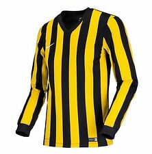 NIKE Dri Fit Soccer Jersey Stripe Division L/S AUTHENTIC Football Yellow Shirt