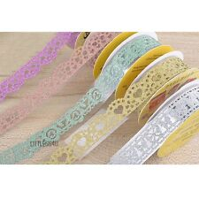 2M Glitter Cut Out Ribbon Tape Self Adhesive Gift Wrap Photo Album Silver Gold