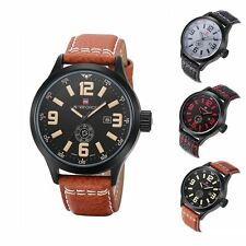 New Fashion Women's Men's Leather Military Sport Date Analog Quartz Wrist Watch