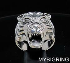 STERLING SILVER ANIMAL PREDATOR RING VICIOUS MALE TIGER HEAD ANTIQUED ANY SIZE