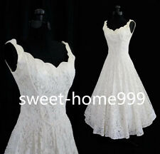 New White/Ivory Tea Length Short Vintage Lace Wedding Dress Size 6 8 10 12 14 16