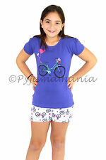 Pyjamas Girls Summer Short (sz 8-14) Pjs Set Purple Bicycle Sz 8 10 12 14