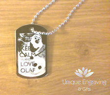 Personalised Photo / Text Engraved Disney Frozen Olaf ID Tag Pendant