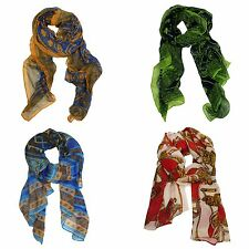Vintage Bohemian Style Tribal Lucky Pattern Soft Chiffon Scarf Extra Long Scarf