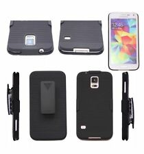 BLACK HARD RIBBED CASE & BELT CLIP HOLSTER STAND SAMSUNG GALAXY NOTE 2 3 4 5 S5