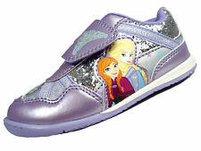 Girls Disney Frozen Lilac Glitter Trainer Anna Elsa Soft Touch Fastening Shoes