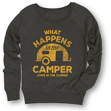 What Happens In Camper Stays In Camper Vintage Style Camp Funny Womens Crewneck