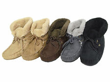 Women's Ankle Hi Bootie Moccasin Faux Suede Fur Lined Loafer Slippers Size 5-11