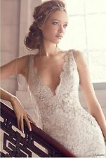 Lace Wedding Dress Mermaid Bridal Beach Gown Backless Custom Made 4-22++