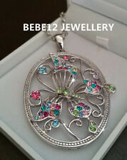Oval Butterfly Hollow-out Crystal Pendant Long Chain Necklace//RGN500