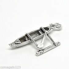 Hawaiian Outrigger Canoe Solid Sterling Silver 3D Pendant Charm w/ Options 1847