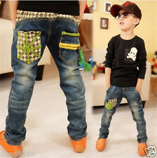 New Kids Boys Blue Denim Trousers Fashion Casual Pants Children Jeans Patchwork