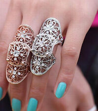 Fashion Jewellery Womens Gold or Silver Colour  Rhinestone Knuckle Joints Ring