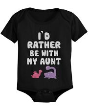 I'd Rather Be with My Aunt Funny Baby Onesie Adorable Infant Snap on Bodysuit