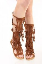 New Mid Calf Knee High Gladiator Open Toe Fringe Tassel Flat Heel Sandal Womens