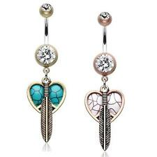 Vintage Boho Peace Heart Feather Belly Ring Brass Clear Turquoise Copper White