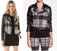 Rebecca Minkoff Women Mitchell Jacket Grey Check Plaid Moto Leather Zipper Wool