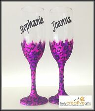 Personalised Christmas Gifts Pink Glitter Leopard Print Prosecco Wine Glasses