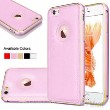 Aluminum Metal Frame Leather Case Cover Skin for iPhone 6 / 6s / 6 Plus/ 6s Plus