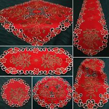 Beautiful Red Christmas Tablecloth Table runner Doily Golden Bell Embroidery NEW