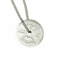 Women's Stainless Steel Weight Plate Necklace-Romans 8:37 ®®2013, ©2013