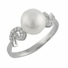 Fancy Sterling Silver ring with 8-9mm button freshwater pearl and CZ RS-105