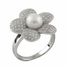 Fancy flower shaped sterling silver ring with 5-6mm button shape pearl RS-160