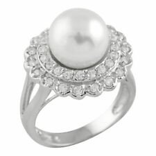 Fancy Sterling silver ring with 10mm White round shell pearl and CZ OCR-16