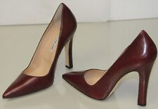 New Manolo Blahnik Burgundy Wine Leather Pointy Shoes Pump Heels 41