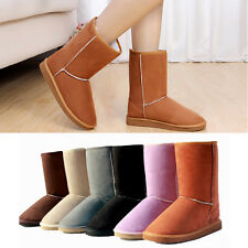 Fashion New Womens Ladies Winter Warm Mid Calf Snow Boots Faux Suede Flat Shoe