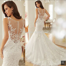 New White/Ivory Lace Mermaid Wedding Dress Bridal Gown Prom Pageant Party Custom