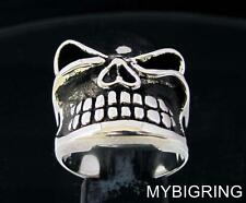 STERLING SILVER MEN'S BIKER RING WINKING GNOME SHOWS TOOTH ANTIQUED ANY SIZE