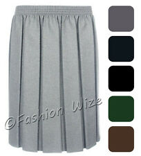 Ladies Skirt Womens Box Pleated Elasticated Waist Black Grey Navy Formal Office